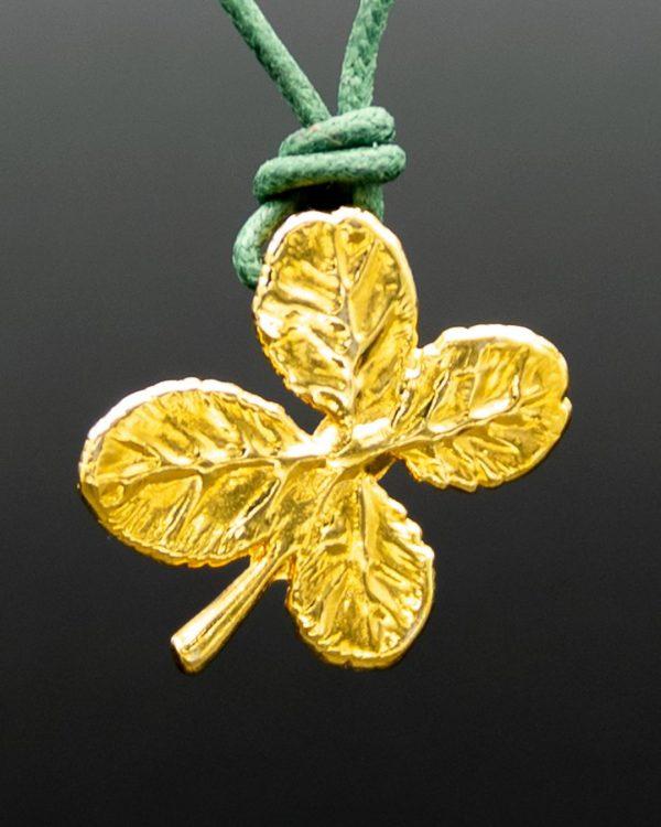 Ciondolo foglia di Quadrifoglio Oro Giallo