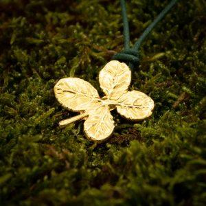 Foglia di Quadrifoglio placcato Oro 24kt, gioielli da stampo quadrifoglio naturale
