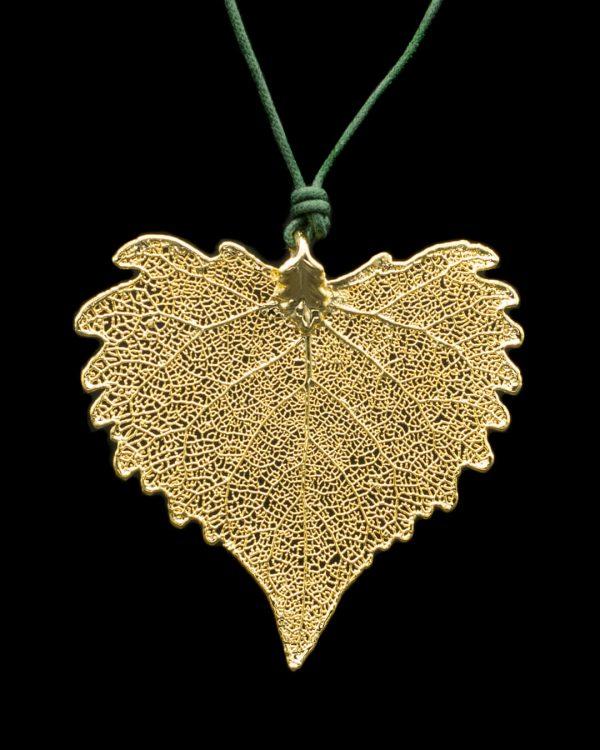 Ciondolo cesellato foglia di Cotone Oro