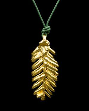 Foglia di Abete Oro Simbolo di Autostima, Gioielli foglie vere