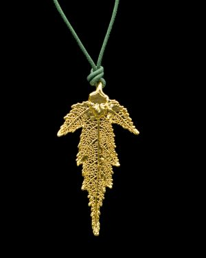 Ciondolo cesellato foglia di Gelso Oro, Gioielli foglie vere