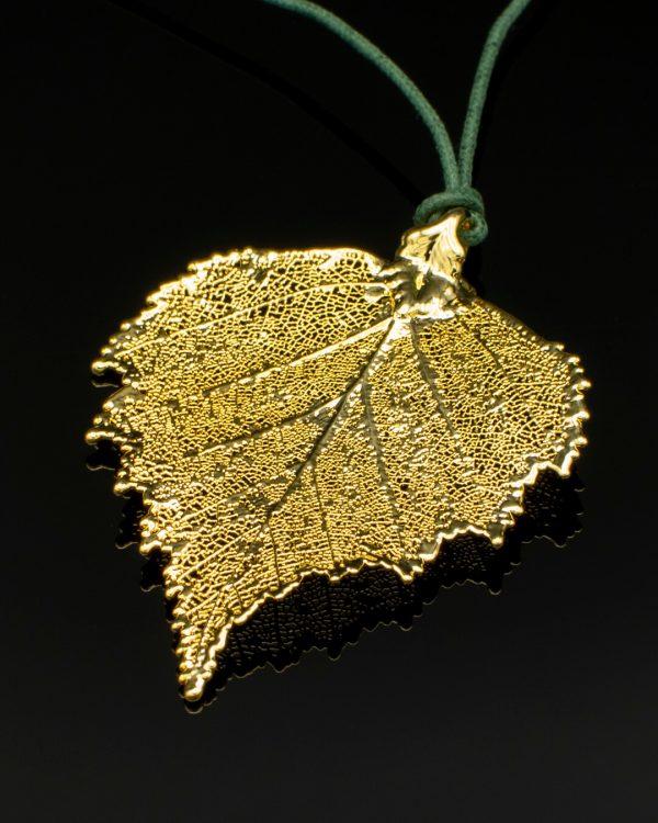 Ciondolo Cesellato foglia di Betulla Oro