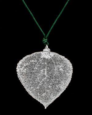 Ciondolo cesellato Foglia di Pioppo Argento, gioielli di vere foglie
