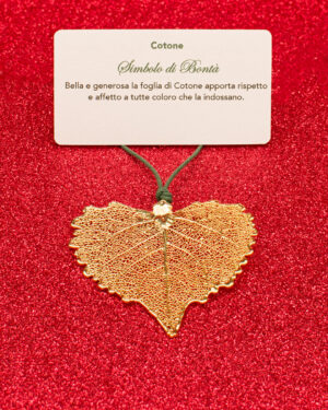 Ciondolo foglia di cotone oro giallo, simbolo di bontà