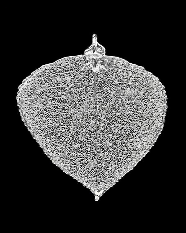 Ciondolo vera foglia di pioppo tremolo placcata argento