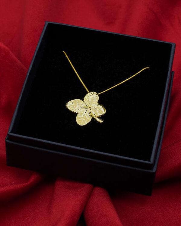 ciondolo quadrifoglio oro giallo luxury box