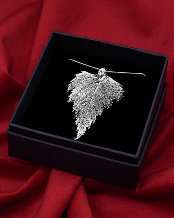 ciondolo vera foglia di betulla argento luxury box