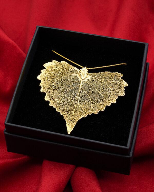 ciondolo vera foglia di cotone oro luxury box